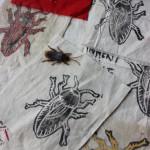 Nášivky se šváby (linoryt, tisk na plátno, malba barvou na textil)